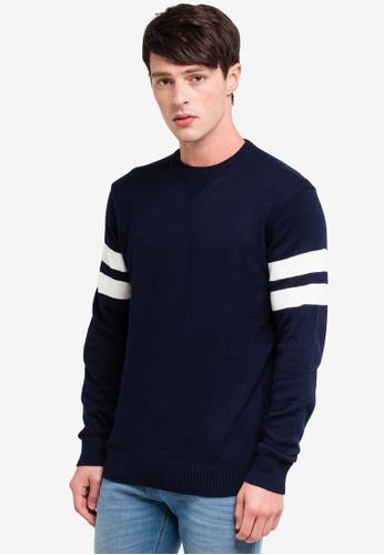 OVS 藍色 針織條紋上衣 50F49AAF024AF8GS_1