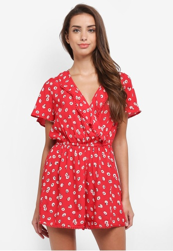 Miss Selfridge multi Red Floral Wrap Playsuit D3113AA806BD73GS_1