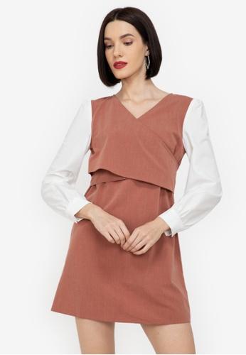 ZALORA WORK multi Blocked Cross Bodice Dress D01E9AA8C8299DGS_1