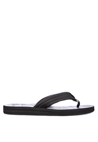 Quiksilver grey Carver Print Slippers 75104SH8F95F99GS_1