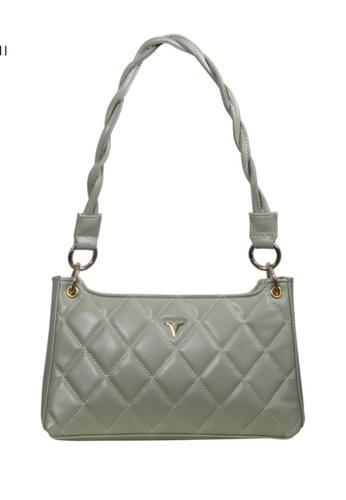 Verchini green Verchini Textured Panelled Shoulder Bag E9F9AAC9F47A9DGS_1