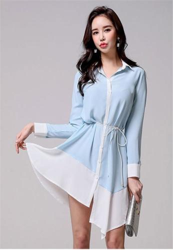 a0d63bd9c544bc Crystal Korea Fashion white and blue Autumn New Temperament Long-sleeved  Waist Tie Dress 279F0AA26733DAGS 1