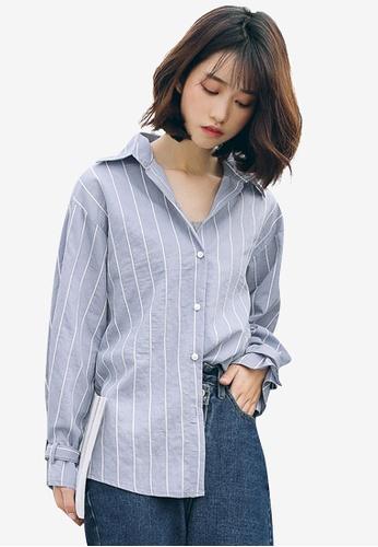 Shopsfashion blue Belted Sleeve Blouse B9DE1AAF22E720GS_1