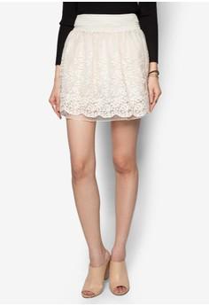 Lace Chiffon Peplum Mini Skirt