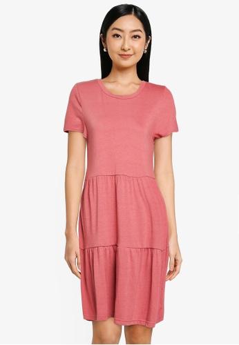 GAP pink Ss Tiered Dress E7E37AA2694F7EGS_1