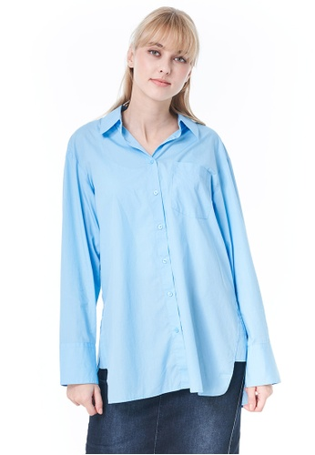 United Colors of Benetton blue Blouse with Side Slits 0CB21AAF836A8EGS_1