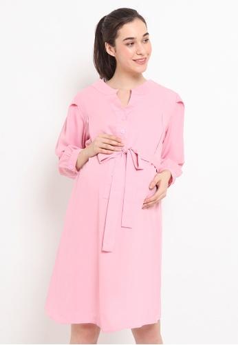 Chantilly pink Mandarin Collar 2-in-1 Dress / Nursing Dress 7D038AA99B17A3GS_1