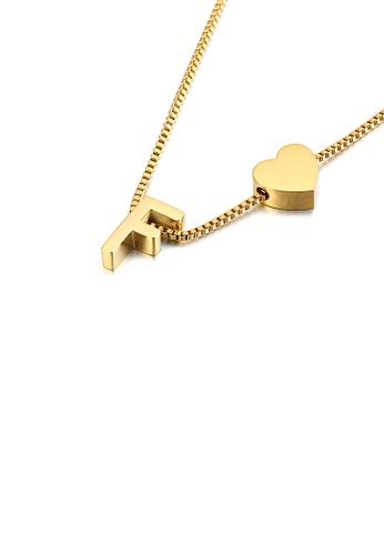 Glamorousky 銀色 時尚簡約鍍金色心形英文字母F 316L鋼吊墜配項鏈 D9BAEAC6AC62F1GS_1