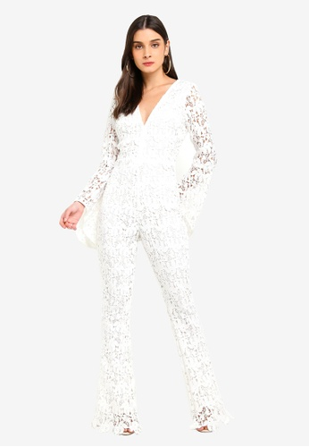 MISSGUIDED white Lace Long Sleeved Jumpsuit 1594EAA93DC045GS_1