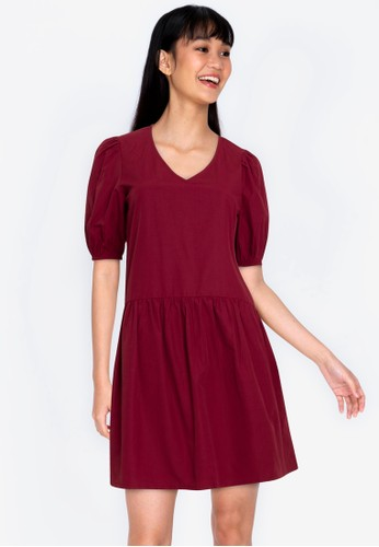 ZALORA BASICS red V neck Drop Waist Mini Dress 5580CAA0E28A0BGS_1