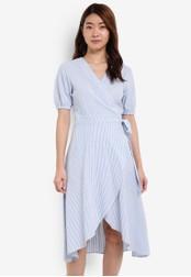 ZALORA blue Printed Wrap Dress 4A7F3AA2FECDDEGS_1