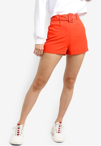 Something Borrowed red Pop Belted Shorts A84E3AAE98CAFDGS_1
