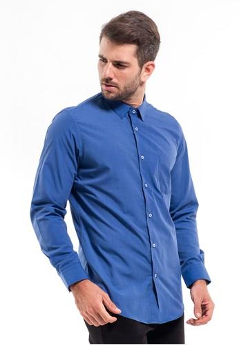 MANLY blue MANLY Kemeja Slim Fit Plain Dugdale Dark Blue RL A4F00AA6781C90GS_1