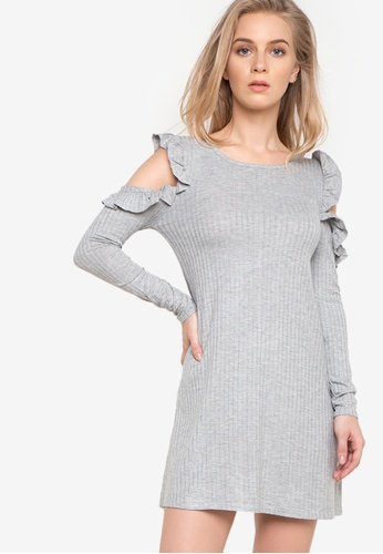 Spring Fling grey Ruffled Cold Shoulder Knit Dress SP673AA83SEYPH_1