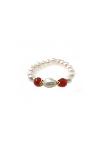 Shinju Pearls white and red SHINJU PEARLS-Baroque Fresh Water Pearl with Red Agate Bracelet 5E886AC19E000FGS_1