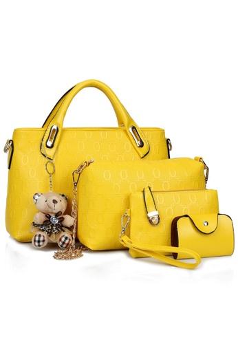 92028f3b9f4b Jackbox yellow Set of 4 Bear Leather Purse Sling Bag Handbag Tote Bag 908  (Yellow