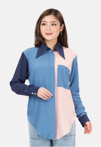 MKY Clothing pink and blue Three Colour Combination Shirt 792ECAA92B942AGS_1