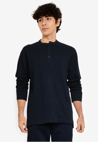 Banana Republic 海軍藍色 Slub 雙 針織Henley Sweater 1AACDAA82FAEA7GS_1