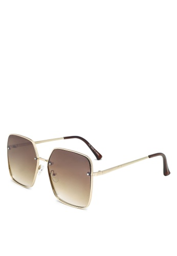 Rubi gold and brown Ivy Square Sunglasses 449BDGL92BFEEDGS_1