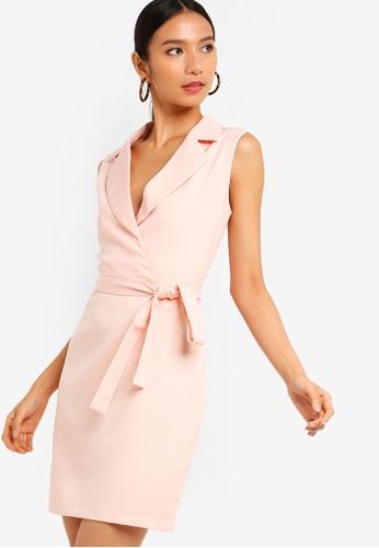 ZALORA 粉紅色 Formal 翻領洋裝 9BE90AA1C1EAB7GS_1