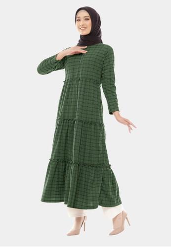 COTTON BEE green Long Dress Qyara Tartan Baju Gamis Jumbo Dewasa - Topiary Green 55F1AAA3DCEDCEGS_1