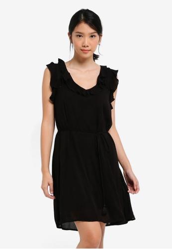 River Island black Lace-Up Back Frill Mini Swing Dress FCA7BAABD1148BGS_1