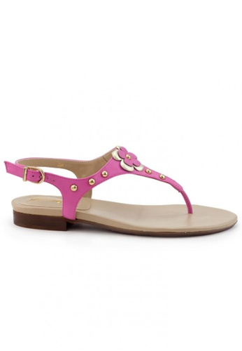 Shu Talk pink Nappa Sandals With Floral and Stubs SH397SH0FPJPSG_1