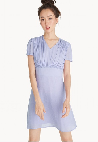 Pomelo purple Mini Ruched V Neck Dress - Lilac 04F74AAA7736A3GS_1