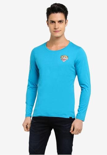 Ed Hardy blue Embroidered Long Sleeve Tee D7FEEAA3AF3FCBGS_1