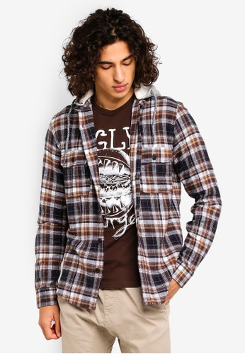 Only & Sons multi and brown Mikkel Checked Hoodie 3A61EAAFA99512GS_1