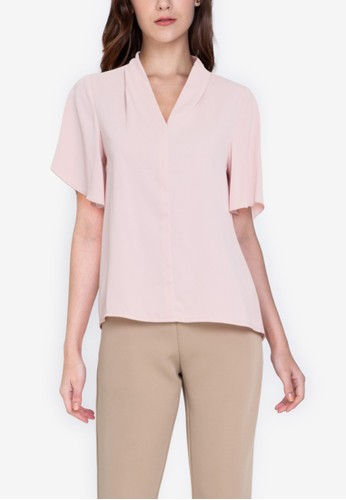 ZALORA WORK pink Flare Sleeves Top 63B93AA210348EGS_1