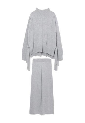 b+ab grey Knit top and flared pants separates 43010AAFA5E444GS_1