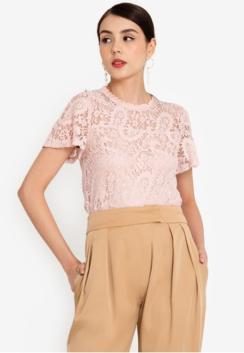 ZALORA WORK 粉紅色 Flare Sleeve Lace Top 275A4AA3D9BBF7GS_1