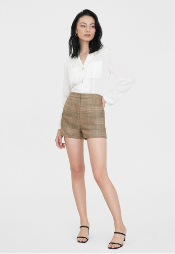 Pomelo brown Plaid Highwaist Tailored Shorts - Brown 7C049AAC531AA3GS_1