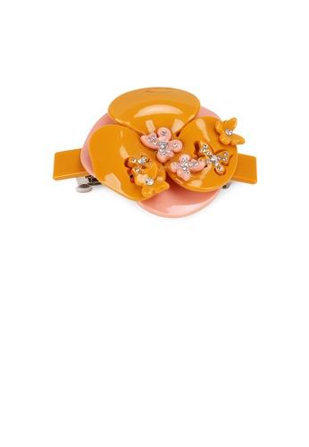 Glamorousky white Fashion and Elegant Orange Butterfly Flower Hair Slide with Cubic Zircon 22D17AC806E2EFGS_1