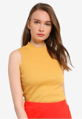 UniqTee yellow High Neck Sleeveless Top D3530AA722DA3FGS_1
