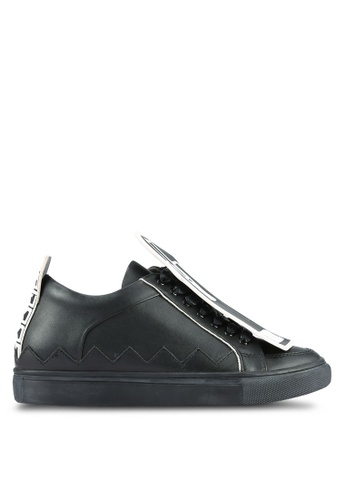 House of Avenues black Sneakers With Detachable Printed Zip Detail HO685SH0RR9ZMY_1