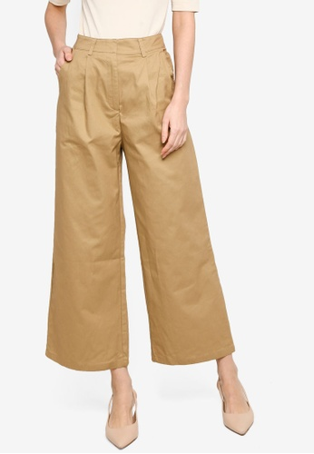 ZALORA WORK brown Wide Leg Tailored Pants 61A8EAA8AF24B8GS_1