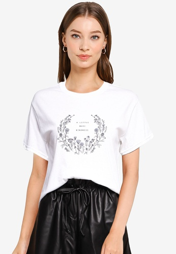 Miss Selfridge white White Little More Kindness T-Shirt BD613AAED4FADBGS_1
