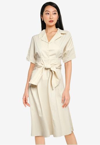 ZALORA BASICS beige Belt Detail Shirt Dress 46B84AAD647126GS_1