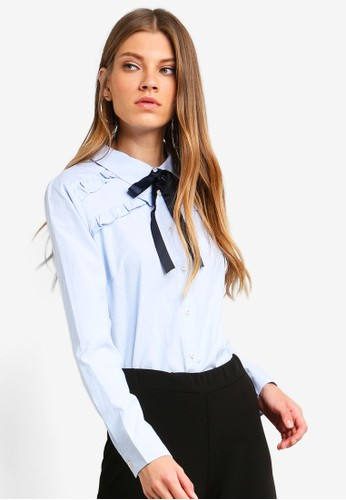 Brave Soul blue Long Sleeve Shirt With Bow Detail At The Neck And Ruffle Detail Across The Chest 96F2AAAD570425GS_1