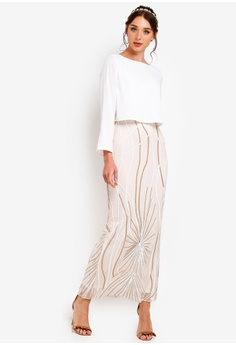 f6f0db67d961a5 Zalia white and gold Placement Sequin Double Layer Column Dress  8606AAA7FE062AGS 1