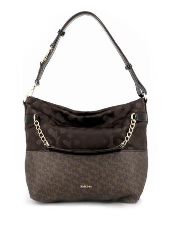 SEMBONIA brown SEMBONIA Jacquard Trimmed Leather Tote Bag 9AD98ACB733469GS_1