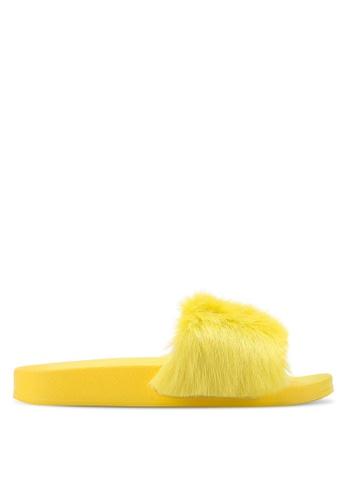 TOPSHOP yellow HOOT Faux Fur Sliders TO412SH37GYKMY_1