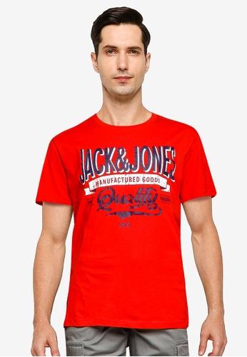 Jack & Jones red Denim Logo Short Sleeve Crew Neck Tee 3CB24AA8F3AB80GS_1