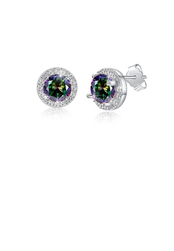 Glamorousky multi 925 Sterling Silver Elegant Fashion Round Stud Earrings with Colorful Austrian Element Crystals CFF3EAC2990082GS_1