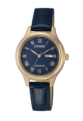 CITIZEN blue Citizen Gold and Blue Leather Watch 02520ACB8B6427GS_1
