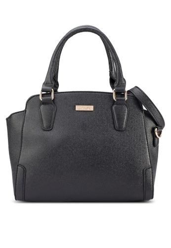 Unisa black UNISA Saffiano Textured Trapeze Convertible Shoulder Bag UN821AC07BIUMY_1