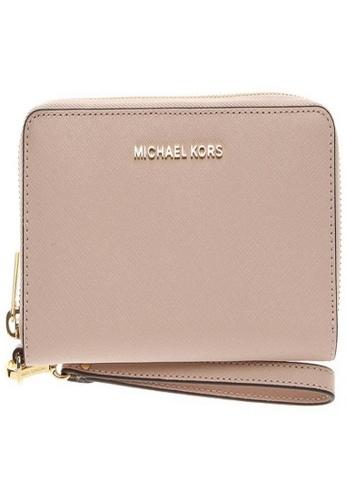 Michael Kors beige Michael Kors Jet Set Travel Large Smartphone Wallet - Nude 32H4GTVE9L-187 A0856ACB17ED4FGS_1