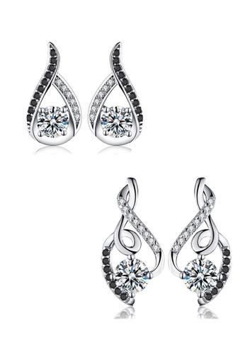 A-Excellence black Premium Elegant Black Silver Earring Set A1A30AC8E88C27GS_1